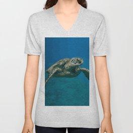 Sea Turtle Ocean blue Water Unisex V-Neck