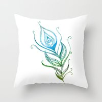 peacock feather Throw Pillows featuring Peacock Feather by Jozi