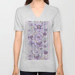 Watercolor purple lavender lilac floral stripes Unisex V-Neck