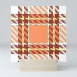 Orange white tartan Mini Art Print