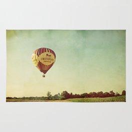 Hot Air Balloon Over Farmland Rug