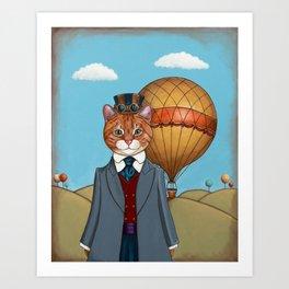 Anthropomorphic Steampunk Cat Art Print