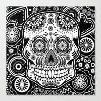 sugar skull Canvas Prints featuring sugar skull by Ancello