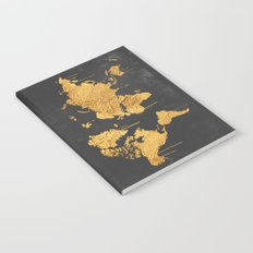 Gold World Map Notebook