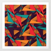 arya Art Prints featuring Hexagonal Lines and Triangles by Hinal Arya
