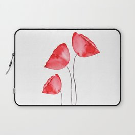 3 red poppies watercolor Laptop Sleeve