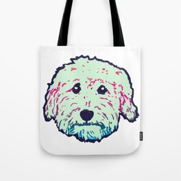 Sweet Goldedoodle dog in mint/navy Tote Bag