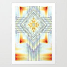Fractal Art- Religious Cross- Native American- Yellow Art- Illuminative- Orange Art- Art Print