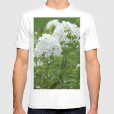 white flowers White Mens Fitted Tee MEDIUM