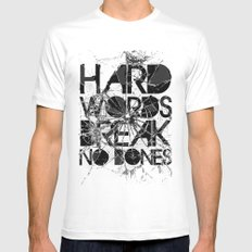 HARD WORDS MEDIUM White Mens Fitted Tee