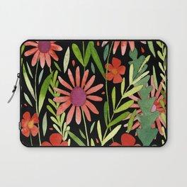 Flower Burst Orange and Black, floral pattern design Laptop Sleeve