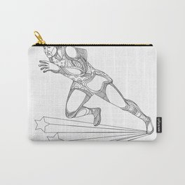 Track and Field Athlete Running Doodle Art Carry-All Pouch