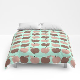 apples, apples, pretty apples pink and blue Comforters