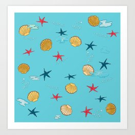 seashells and starfishes - blue Art Print