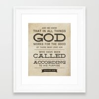 bible verse Framed Art Prints featuring Romans 8:28 Bible Verse by Tony D'Amico