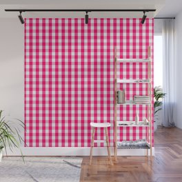 Hot Neon Pink and White Gingham Check Wall Mural
