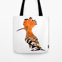 Bird artwork hoopoe geometric, Orange and brown Tote Bag
