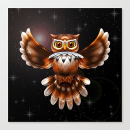 Surreal Owl Metallic Flying on the Night 3d Canvas Print