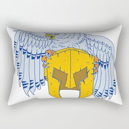 Horned Owl Clutching Spartan Helmet Drawing Rectangular Pillow