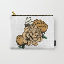 Sailing a Sea of Peonies - Vintage Yellow Carry-All Pouch