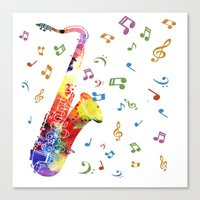 saxophone Canvas Prints featuring Saxophone by Miss L in Art
