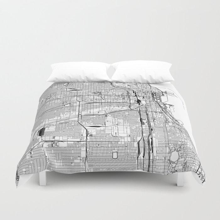 Chicago White Map Bettbezug