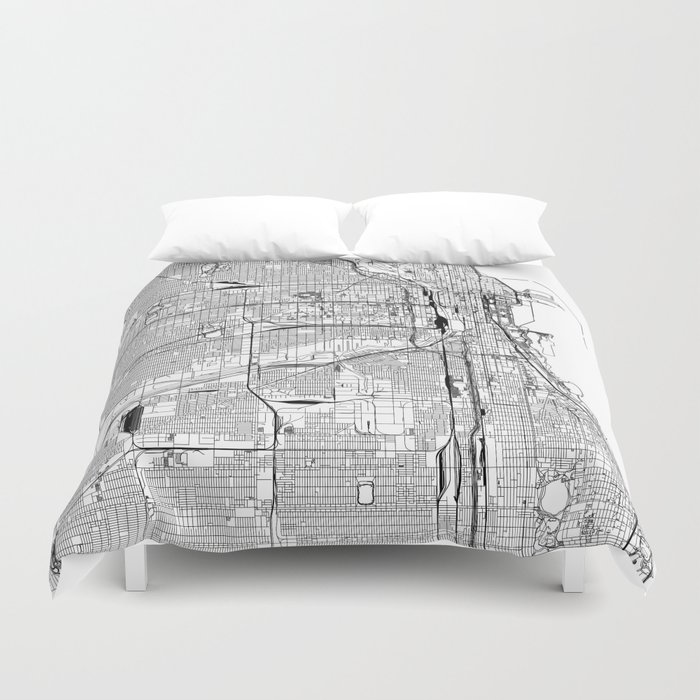 Chicago White Map Duvet Cover