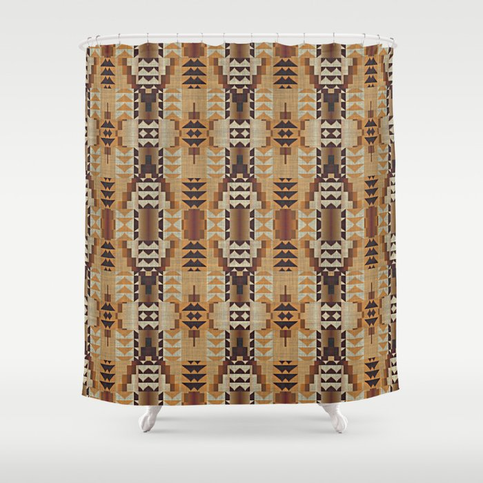 Orange Khaki Dark Caramel Coffee Brown Rustic Native American Indian Mosaic  Pattern Shower Curtain