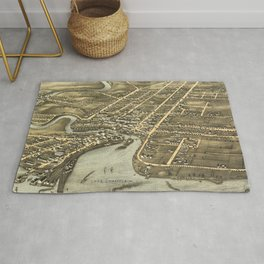 Vintage Pictorial Map of Plattsburgh NY (1877) Rug