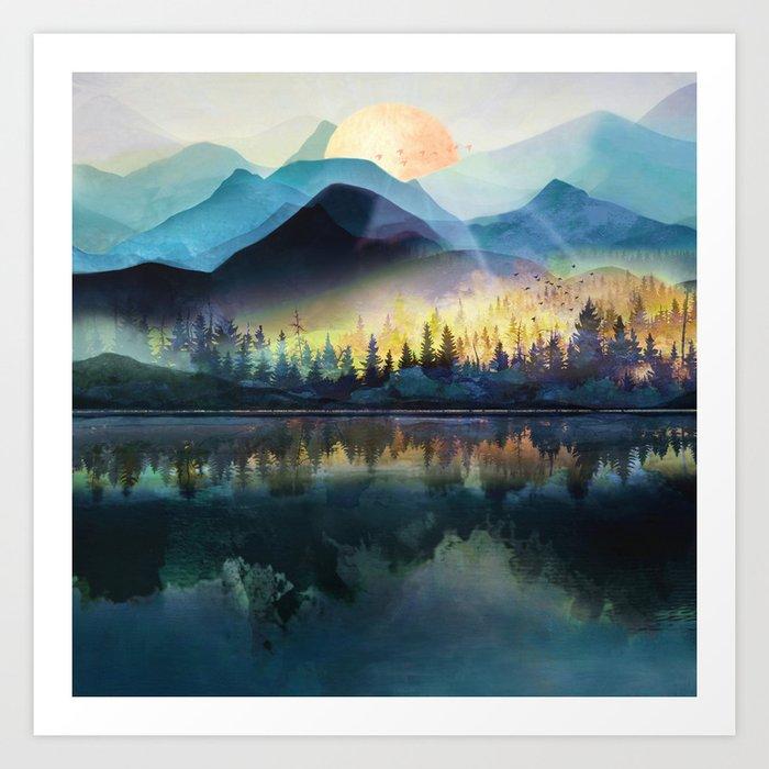 Mountain Lake Under Sunrise Kunstdrucke