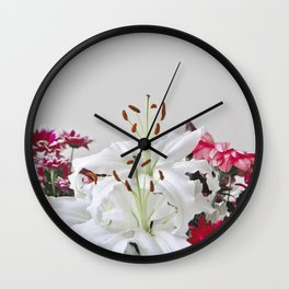 Floral Lilies Daisies Wall Clock