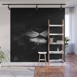 lion, black and white Wall Mural