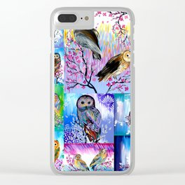 abstract owls Clear iPhone Case