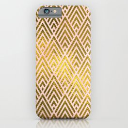 Gold foil triangles on pink - Elegant and luxury triangle pattern iPhone Case