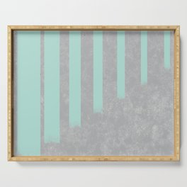 Soft cyan stripes on concrete Serving Tray