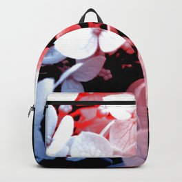 Red and blue effects on hydrangea Backpack