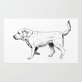 Labrador Retriever Ink Drawing Rug