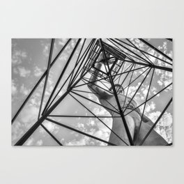 Tulsa Driller Low Vantage Point - Black and White Canvas Print