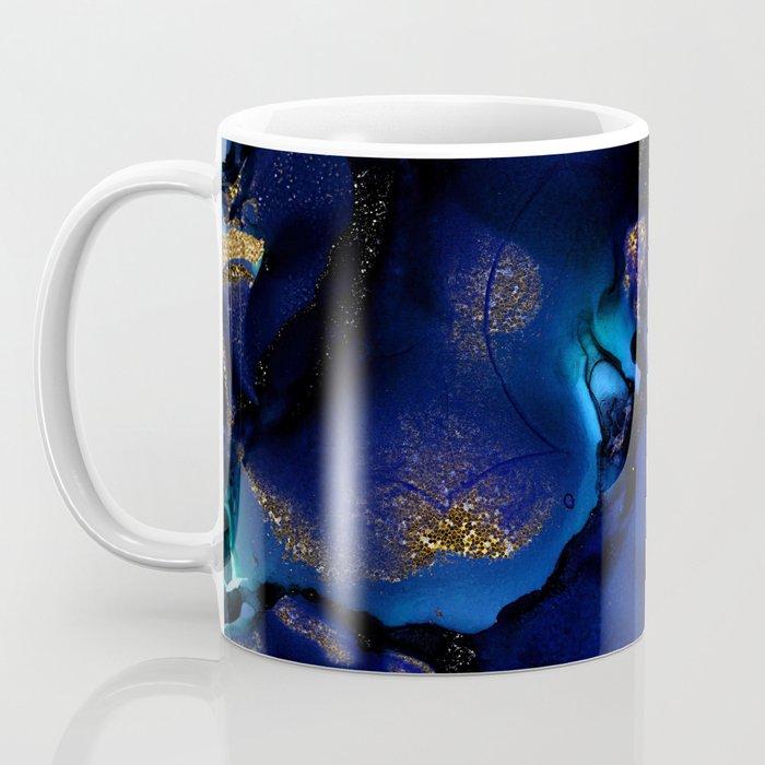 Gold and Indigo Malachite Marble Coffee Mug