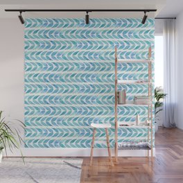 Summer floral pattern with blue leaves Wall Mural