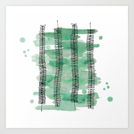 Kowhai branches watercolor Art Print