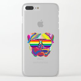 Psychedelic Pug Dog Face with Gay Pride Sunglasses Clear iPhone Case