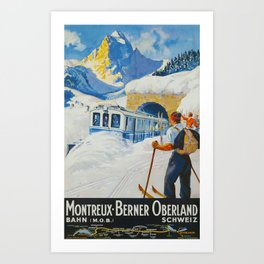 Montreaux-Berner Oberland Bahn 1934 Travel Poster Art Print