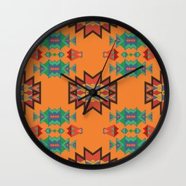 Misc shapes on an orange background Wall Clock