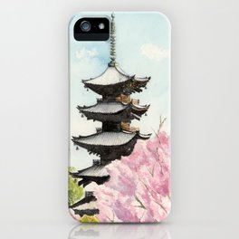 Japanese Temple Watercolor Painting print by Suisai Genki , To-ji, Kyoto , Sakura , Cherry blossom iPhone Case