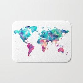 World Map Turquoise Pink Blue Green Bath Mat