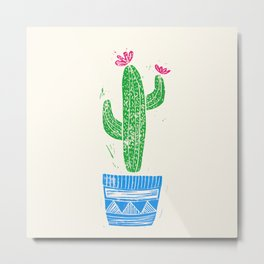 Linocut Cactus #2 in a pot Metal Print