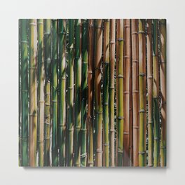 Bamboo Shoots Oriental Pattern Metal Print
