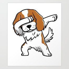 Funny Dabbing Cavalier King Charles Spaniel Dog Dab Dance Art Print