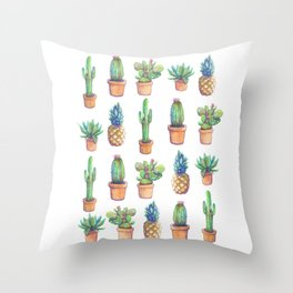 Cactus and Pineapples Throw Pillow